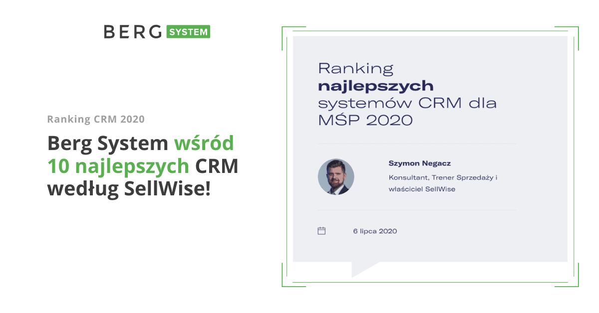 Berg System - ranking CRM 2020 SellWise