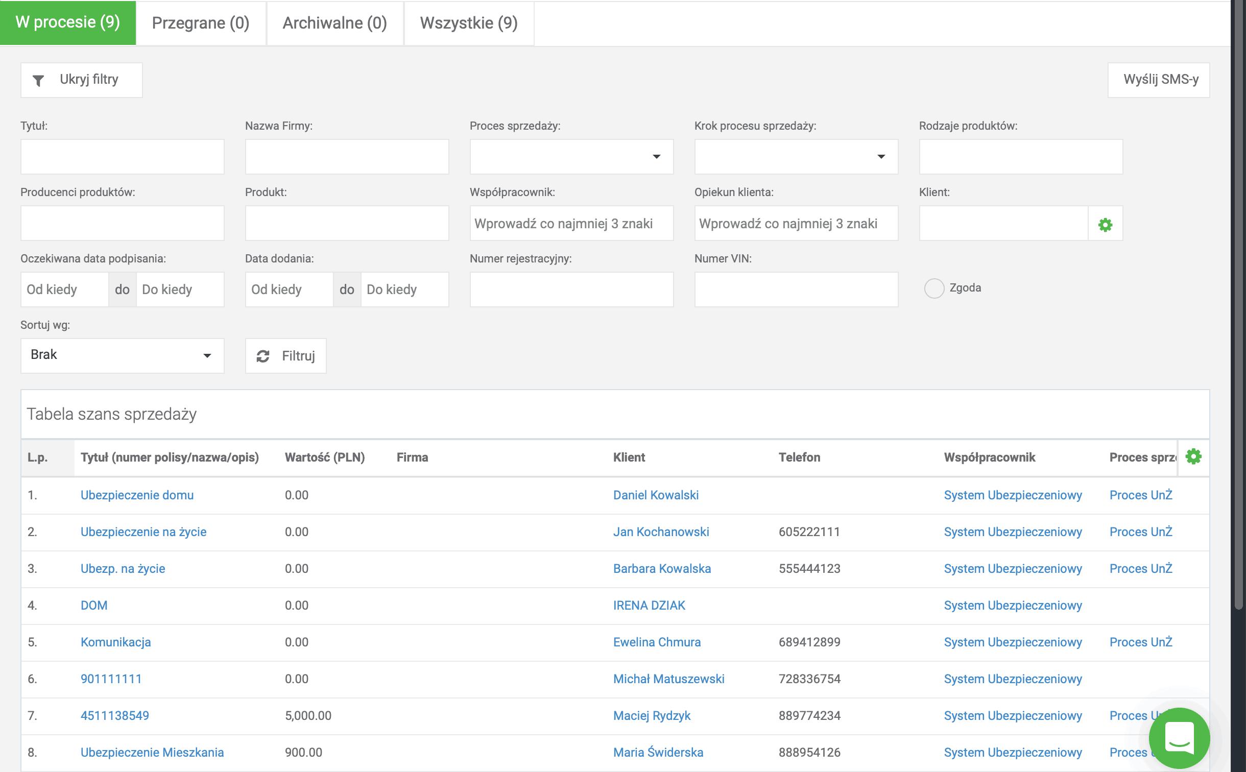 Proces sprzedaży, filtrowanie w Berg System